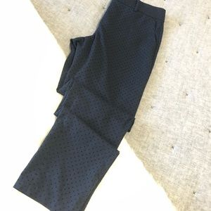 Ann Taylor navy trouser with black velvet polkadot
